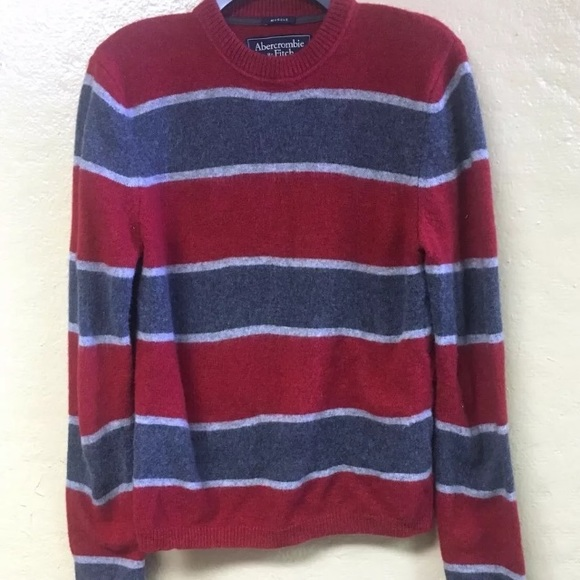 c2e09bef Abercrombie & Fitch Sweaters | Abercrombie Fitch Red Gray Muscle ...